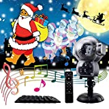 JIANKE Christmas LED Projector Lights Halloween Music Snowfall Animation Landscape Fairy Decor for Indoor Outdoor Garden Party, Multi-Colored