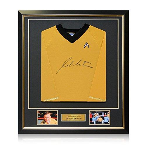 Star Trek Jersey, signiert von William Shatner. In schwarzem Rahmen mit Goldeinlage Autogramm Sport-memorabilien