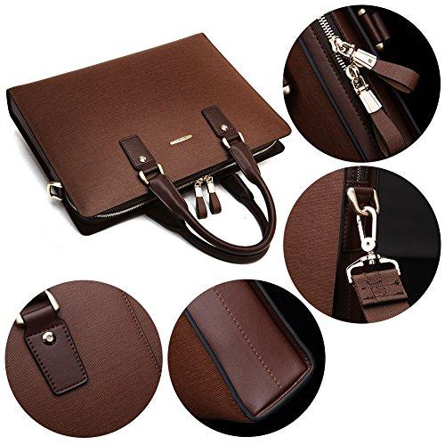 BOSTANTEN Leder Herren Aktentasche Laptoptasche Schultertasche Henkeltasche Designer Business Businesstasche Messenger Bag Kaffee Kaffee