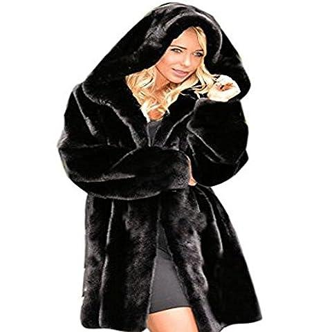 Femme Noir en Imitation Fourrure d'Hiver Chaude Veste Mesdames Parka Manteaux Veste à capuche pour homme - Noir - Taille unique