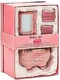 BRUBAKER Set 'Mein erstes Sparschwein', rosa für erstes Spargeld, erste Milchzähne, Haare und mit Bilderrahmen