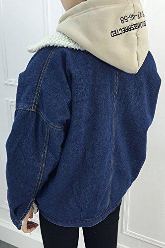 Le Donne Si Risvolto Manica Lunga Giacca Jeans Outwear Vello Ispessirsi Blue