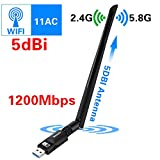 Elekele Wlan Stick 1200Mbit/s, 5dBi Antenne, Dualband(5.8G/866Mbps + 2.4G/300Mbps) Wireless USB Wifi Adapter, 802.11 ac/n/g/b/a USB Wifi Dongle für Windows 10/8.1/8/7/XP/Vista/MAC OS/Linux 2.6