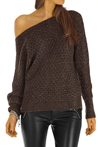 Bestyledberlin pull-over femme, pull-over aux manches chauve-souris t30z Marron fonce
