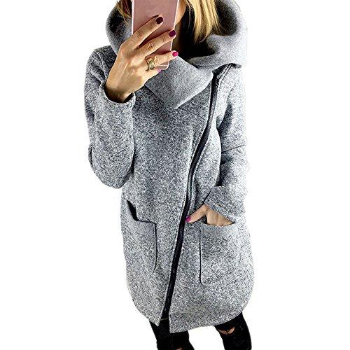BAINASIQI Frauen Winter Warm Casual Hoodies Lange Reißverschluss Kapuzenpullover Jacke Mäntel (XXXXL, Grau)