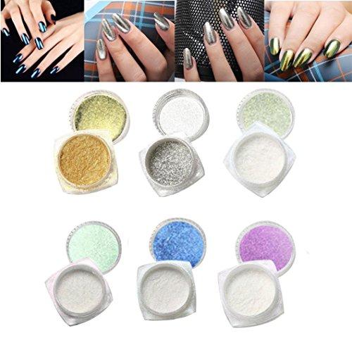 Ouneed® 6 Couleur Chrome Poudre Paillete Fond de Ongles Miroir Decor