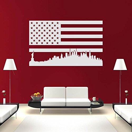 Stati Uniti dAmerica Landmark Bandiera Wall Stickers Landmark Adesivo Art disponibile in 5 dimensioni e 25 colori Extra Grande Rosso