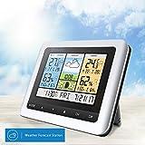 DIGOO Funkwetterstation, DG-TH8888 In & Outdoor Temperatur- und Luftfeuchtigkeitsmonitor mit Außensensor, großem LCD-Bildschirm, Wettervorhersage, Wecker mit Schlummerfunktion, Haus, Schlafzimmer