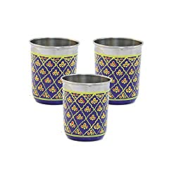 eCraftIndia Set of 3 Handpainted Decorative Steel Glass - 106 Blue Color