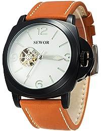 SEWOR reloj para hombre piel negocios automático reloj Full negro Funda Interruptor corona negro esfera esqueleto