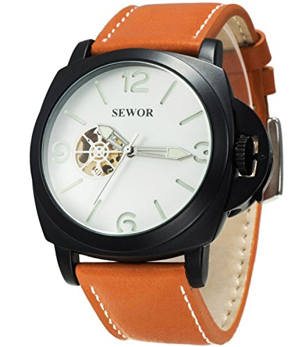 Sewor Mens Business Leather Automatic Mechanical Watch Black Case Calendar Switch Crown Wristwatch Luminous Pointer+Scale (White)