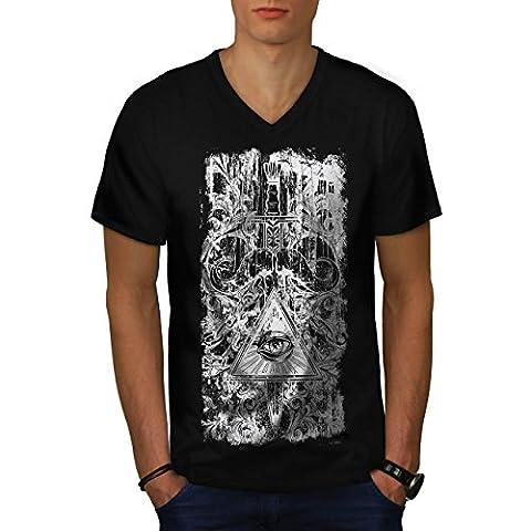 Ornament Gottes Auge Dreieck Strahl Herren Schwarz M T-shirt   Wellcoda