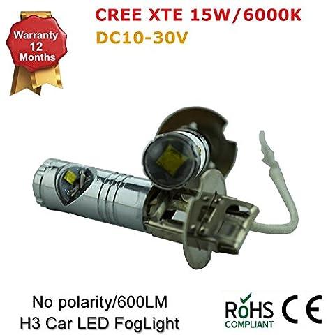 H1H3Super Weiß CREE XBD Objektiv LED 15W SMD Leuchtmittel Beam Kopf Nebel Loght Lampe von 1030V (2Stück)