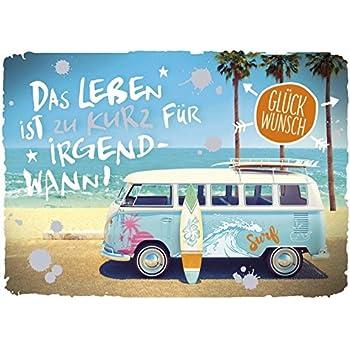 3 Stück A6 Postkarte Grußkarte Karte bunter VW Bus Bully