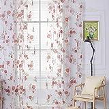Ouneed 1PC Floral tul cortina voile panel transparente cortinas ventana pañuelos puerta cortina (A)