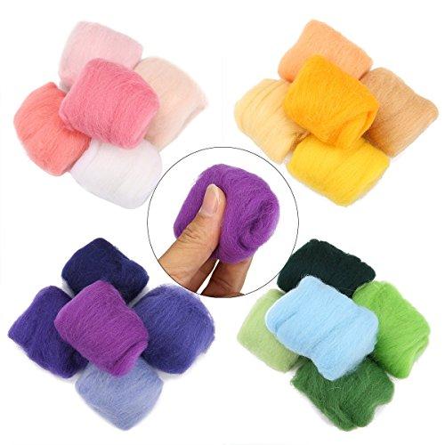 Jeteven 36 Farben Filzwolle Märchenwolle geeignet für Nassfilzen und Trockenfilzen mit 1 Set Filzwolle Werkzeug