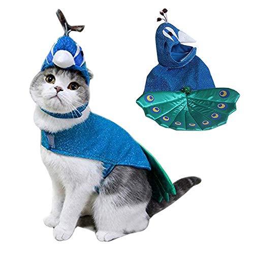 BABYS'q Tierkostüme, Luxuriöses Blaues Pfauen Halloween-Cosplay-Kleid, Lustige Cat-Cap-Hut-Kleidung Für Katzen Und Kleine Hunde (Für Hüte Halloween Babys)