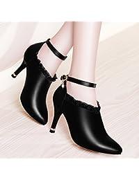 a05a4ab6a2c KHSKX-Primavera Bien Tacon Zapato Único Medio Tacón Zapatos De Mujer Sharp  Cabeza 8 5 Cm Zapatos De Tacon Alto Zapatos De Cuero…