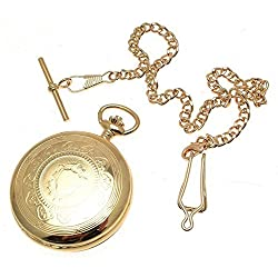 Gold Plated On Brass Full Hunter Pocket Watch Sun & Moon Design Dual Time Zone