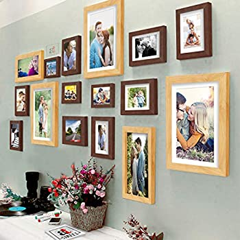 Art Street Shooting Star Brown & Beige Individual Wall Photo Frames Set of 16 Pcs with Free Hanging Accessories (3 Units of 8X10,4 Units of 6X8, 4 Units of 5X7, 3 Units of 4X6,2 Units of 6X10 Inchs)