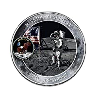 Volwco Apollo 11 50th Anniversary Commemorative Coin-Humans First Landing,Exquisite Ornaments Collection Arts Gifts Souvenir Novelty Coin (Silver)