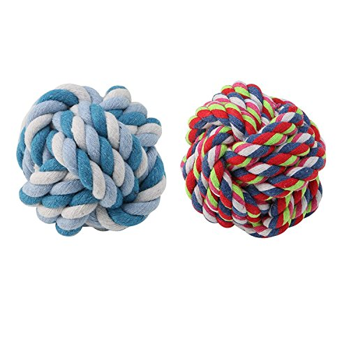 Dairyshop Colorful Pet Dog Puppy Rope Ball Dental Teething Healthy Teeth Chew Training Toy 51zLpt 2BQJwL