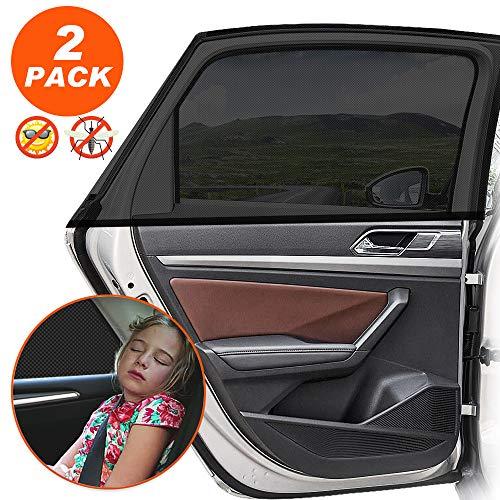 Sonnenschutz Auto Baby mit UV Schutz Sonnenschutz Auto für Kinder Baby Erwachsene Haustiere, Selbsthaftende Universal Sonnenblende Auto Netz - Autofenster Sonnenschutzrollos Heckscheibe - 2 Stück (Autos Sonnenblende)