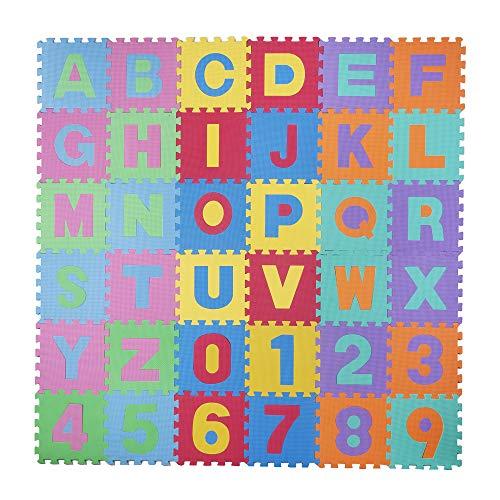 *Baby Vivo Eva-Spielteppich für Kinder 190 x 190 cm mit Buchstaben und Nommen*