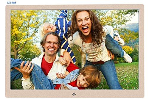 Digitaler Bilderrahmen Full HD 12.1 Zoll Ultradünnes Metallgehäuse Werbung Maschine Fernseher Mikro-Displays Mit Fernbedienung 1280P, Unterstützung Foto, Musik & Video, HDMI - Schnittstelle, Superworld® Elektronischer Bilderrahmen Digitaler Album (Golden)