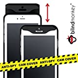 blindmonkey NEUHEIT Anti-Spy Handyhülle mit Kameraabdeckung und Schutzglas für iPhone 8, 7, 6 & 6s, dünne Schutzhülle mit Kameraschutz, Cam Cover - Schiebehülle Case schwarz