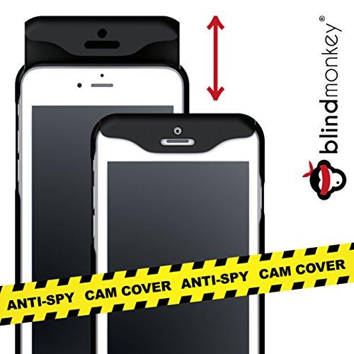 blindmonkey No-Spy Handyhülle, GRATIS Schutzglas, dünne Schiebehülle für iPhone 8, 7, 6 & 6s, Cam Cover - Anti Hacking - Anti-Spy - NEUHEIT
