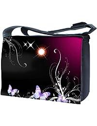 Luxburg® uk-nb-sb-10001–17–01–12Design sac bandoulière pour ordinateur portable 17Avec Bandoulière–Soleil Papillons et Magic Plante