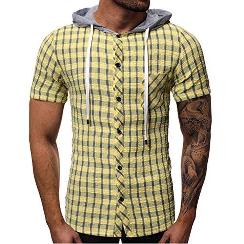 Sonnena Herren Kurze Ärmel Knopf Plaid Hoodie Sweatshirt Slim fit Crew Neck Basic T-Shirt Rundhals Kapuzenpullover Pullover Baumwoll Nähte Hoodie männer männer Top