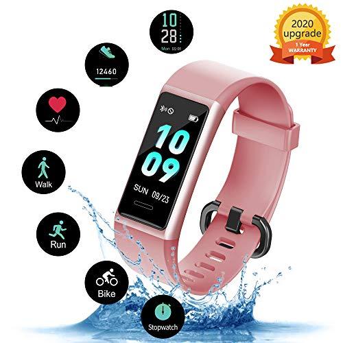 Imagen de kungix pulsera de inteligente mujer, smartwatch impermeable ip68 con 14 modos de deporte, 0.96 inch pantalla color reloj deportivo con pulsómetro para hombre android iphone ios teléfono