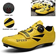 Mens Womens Road Cycling Shoes Breathable Anti-Skid with Lock Mountain Biking Riding Shoes Reflective Strip De