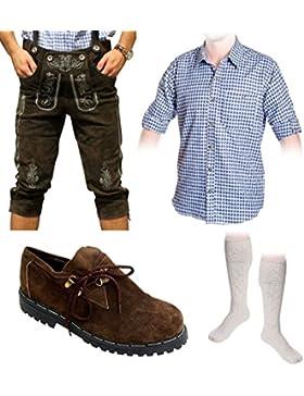 Herren Trachten Set A 5-teilig Trachten Lederhose dunkelbraun 46-60 Trachtenhemd Schuhe Socken