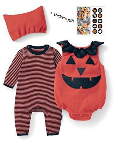 Strampler Neugeborenen Bodysuit Halloween Kostüm Outfits 3pcs (Neugeborenes Mädchen Halloween-kostüm)