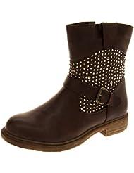 Para mujer de ángel y KEDDO de botas cubiertas de lodo cálida vaquero cortinas plisadas pelo sintético Gem corta para WIN-TEX tamaños disponibles botas 3-8
