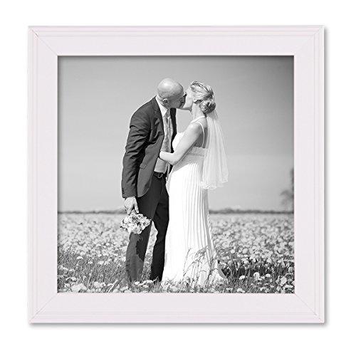 PHOTOLINI Landhaus-Bilderrahmen 15x15 cm Weiss Massivholz mit Glasscheibe und Zubehör/zum Stellen oder Hängen/Fotorahmen