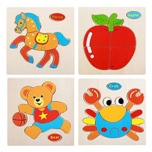 Trifycore Kinder Bunte Educational Jigsaws Cartoon-Tier Puzzle Holz Verkehr Puzzle Kinder Obst Puzzles für Kleinkinder Vorschüler Crab Cony Bär Apple-4Pcs
