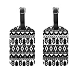 COOSUN Black And White Tribal Pattern Luggage Tags Travel Labels Tag Name Card Holder for Baggage Suitcase Bag Backpacks, 2 PCS