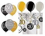 Feste Feiern Geburtstagsdeko Zum 50 Geburtstag   21 Teile All In One Set Luftballons Deckenhänger Swirl Gold Schwarz Silber Party Deko Happy Birthday