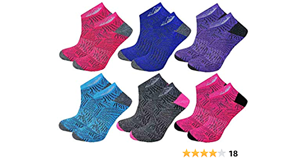 UK Size 4-8 Design 1 6 Pairs Womens ProHike Cushioned Sole Ankle Trainer Socks