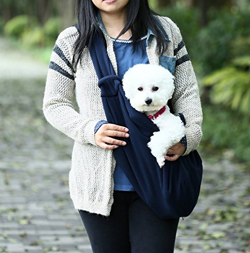 T Tocas Older, Little Cat Dog Puppy Hand-free Slings Carrier, Soft Reversible Shoulder Bag, Weight up to 5kg (Dark Blue) 2