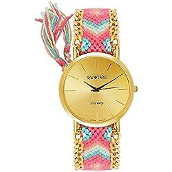 Dalas MINGBO Bijou V6 Beach Style Women's Watch Braided Bracelet Colour Red Pink Gold Watch Blogger Arabic Numerals Hippie Boho Festival Women's World Map: Friendship Bracelet