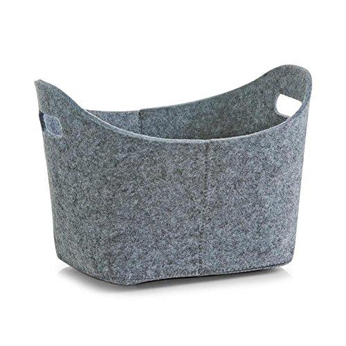 Korb oval - grau - 31,5 x 19 x 21 cm - Filz - Aufbewahrung - Filzkörbchen - Brotkorb - Obstkorb aus Filz