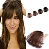 YoungSee Luft Pony Clip in Extension ohne Temple Air Bangs Echthaar Clips Naturliches Haar