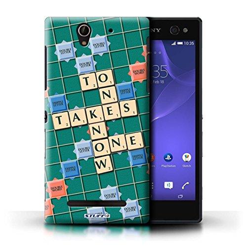 Kobalt® Imprimé Etui / Coque pour Sony Xperia C3 / Coeur Chaud conception / Série Mots de Scrabble Connaître