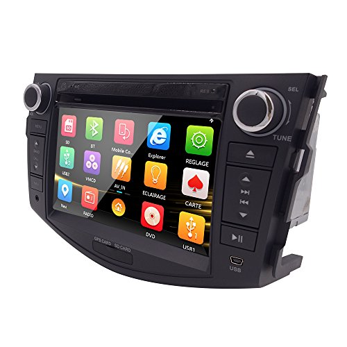 Hizpo Car in Dash Autoradio for Toyota RAV4 2006 2007 2008 2009 2010 2011 2012 7 inch Monitor DVD Player GPS Navigation Stereo Bluetooth SWC Subwoofer Reverse Cam-in (Bluetooth Dash In Dvd-player)