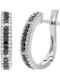 Naava Women's 9 ct White Gold 0.47ct Black and White Diamond Hoop Earrings